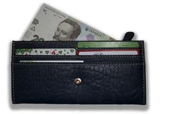 Portefeuille en cuir avec une partie évidente du billet de banque ukrainien photos libres de droits