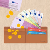 Portefeuille en cuir complètement d'euro pièces de monnaie de billets de banque et cartes de crédit Conception plate Photographie stock libre de droits