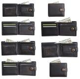 Portefeuille en cuir noir avec des dollars d'argent liquide réglés Photos libres de droits