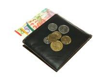 Portefeuille en cuir noir avec le shekel israélien Images libres de droits
