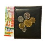 Portefeuille en cuir noir avec le shekel israélien Photo libre de droits