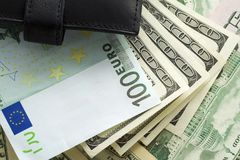 Portefeuille en geld royalty-vrije stock foto's
