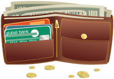 Portefeuille en Geld Royalty-vrije Stock Fotografie