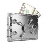 Portefeuille en métal avec des billets de banque Photo stock