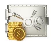 Portefeuille en métal et pièces de monnaie d'or Images libres de droits