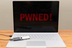 Portefeuille entaillé d'ordinateur portable et de matériel de Cryptocurrency Photo libre de droits