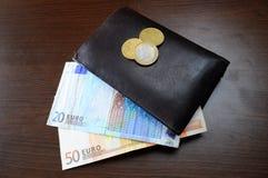 Portefeuille et argent d'euro Image stock