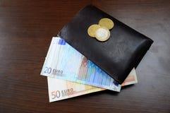 Portefeuille et argent d'euro Images libres de droits