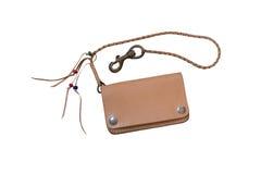 Portefeuille fait main en cuir de Brown Photo stock