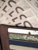 Portefeuille, geld en creditcards Stock Fotografie