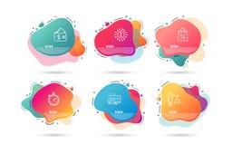 Portefeuille, het Winkelen zak en Tijdopnemerpictogrammen algoritmeteken Doenbaarheid, Supermarktkortingen, Chronometergadget Vec vector illustratie