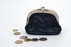 Portefeuille met Coins2 Stock Afbeeldingen