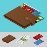 Portefeuille met contant geldgeld en creditcards Betalingsconcept Vector isometrische illustratie Royalty-vrije Stock Fotografie