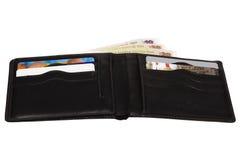 Portefeuille met creditcards en Geld Stock Foto's