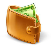 Portefeuille met dollar Royalty-vrije Stock Afbeelding