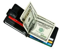 Portefeuille met dollars Royalty-vrije Stock Foto's