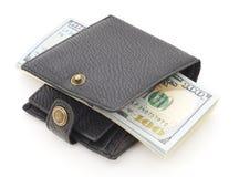 Portefeuille met dollars Stock Foto's