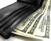 Portefeuille met dollars Stock Afbeeldingen