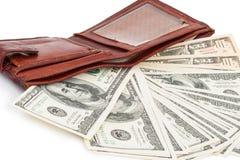 Portefeuille met dollars Stock Afbeelding