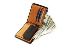 Portefeuille met dollars en kaarten Royalty-vrije Stock Afbeelding