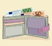 Portefeuille met 50 en 100 Euro rekeningen Royalty-vrije Stock Afbeeldingen
