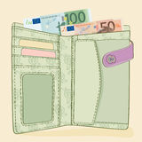 Portefeuille met 50 en 100 Euro rekeningen Royalty-vrije Stock Afbeelding