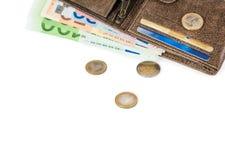 Portefeuille met euro bankbiljetten stock afbeelding