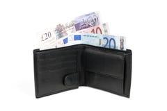 Portefeuille met euro en pondbankbiljetten Royalty-vrije Stock Foto