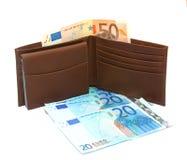 Portefeuille met Euro geld Stock Foto's