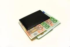 Portefeuille met Euro op wit Stock Fotografie