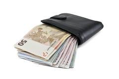 Portefeuille met euro op witte achtergrond wordt geïsoleerd die Stock Fotografie