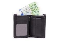 Portefeuille met Europees geld Royalty-vrije Stock Afbeeldingen