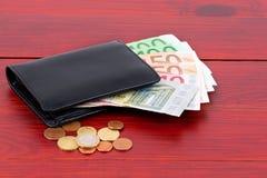 Portefeuille met Europees geld Stock Foto's