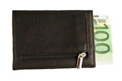 Portefeuille met geïsoleerde bankbiljet Stock Fotografie