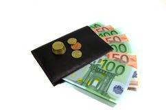 Portefeuille met geïsoleerde dollarrekeningen en muntstukken Stock Afbeelding