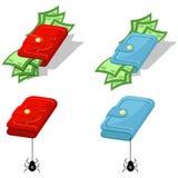 Portefeuille met geld stock illustratie
