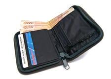 Portefeuille met geld Stock Afbeeldingen