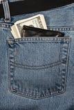 Portefeuille met geld in jeans Royalty-vrije Stock Afbeelding