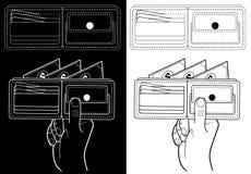 Portefeuille met geld Zwart-witte illustratie voor financiële instellingen: banken, beurzen vector illustratie