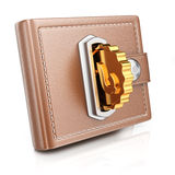 Portefeuille met gouden muntstuk Royalty-vrije Stock Afbeelding
