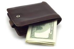 Portefeuille met honderd-dollar rekeningen Stock Afbeeldingen