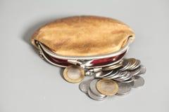 Portefeuille met Indische muntmuntstukken Stock Foto's