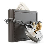 Portefeuille met ketting en hangslot Royalty-vrije Stock Afbeelding