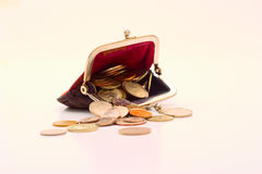 Portefeuille met muntstukken Royalty-vrije Stock Foto