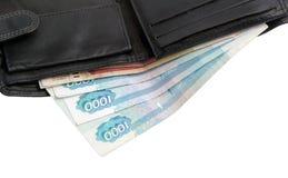 Portefeuille met roebels Stock Foto's