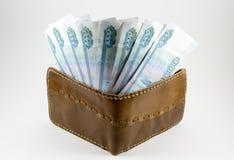 Portefeuille met Russische roebels Royalty-vrije Stock Afbeelding