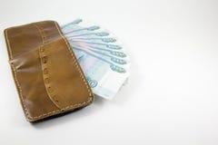 Portefeuille met Russische roebels Stock Foto