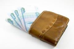 Portefeuille met Russische roebels Stock Fotografie