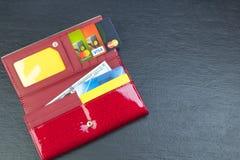 Portefeuille ouvert avec des cartes de banque et des billets d'un dollar photo stock