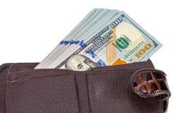 Portefeuille ouvert avec un billet d'un dollar collant  Images libres de droits